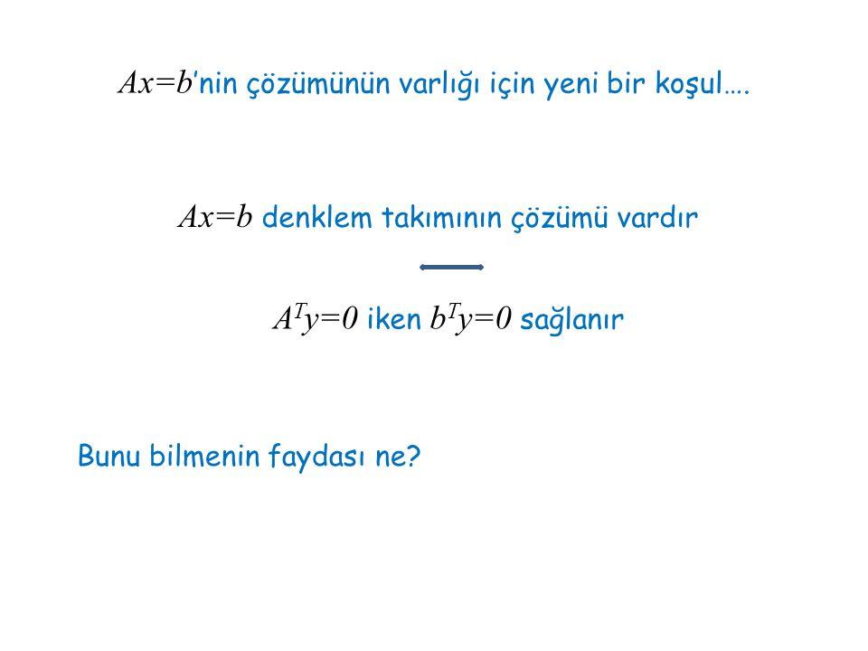 Ax=b'nin çözümünün varlığı için yeni bir koşul….