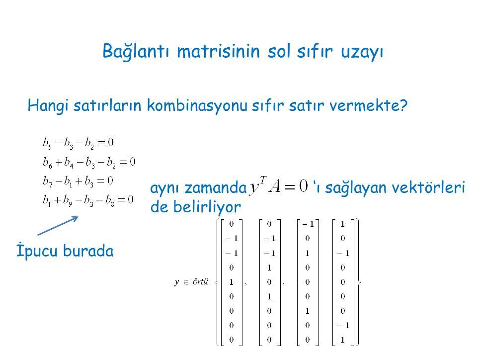 Bağlantı matrisinin sol sıfır uzayı