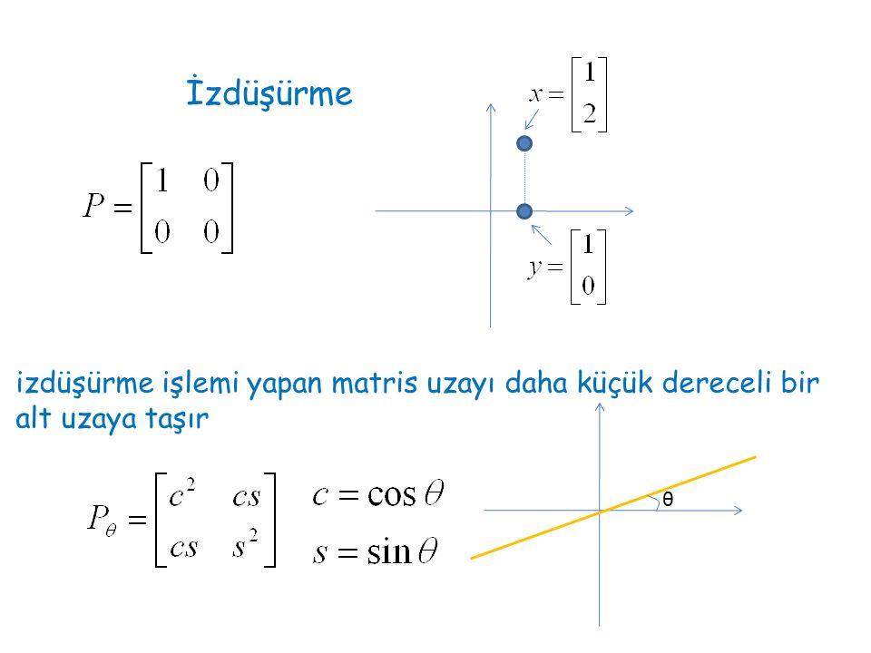 İzdüşürme izdüşürme işlemi yapan matris uzayı daha küçük dereceli bir alt uzaya taşır θ