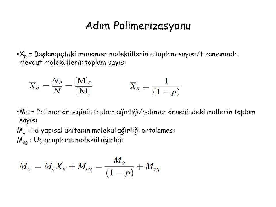 Adım Polimerizasyonu Xn = Başlangıçtaki monomer moleküllerinin toplam sayısı/t zamanında mevcut moleküllerin toplam sayısı.