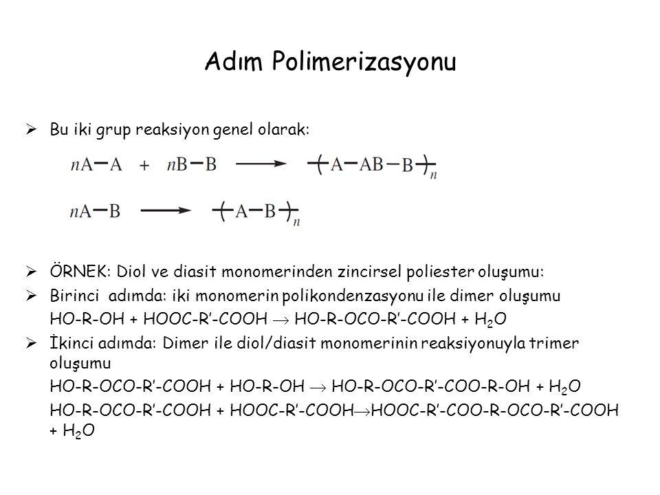 Adım Polimerizasyonu Bu iki grup reaksiyon genel olarak: