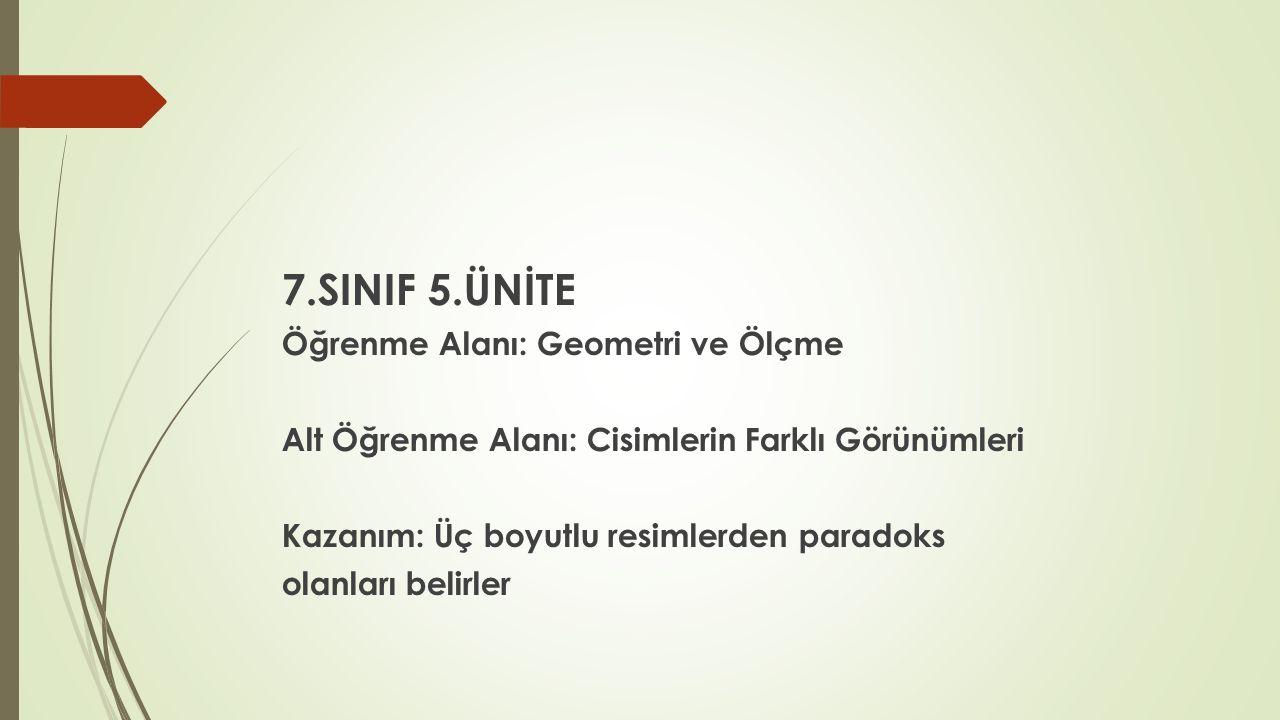 7.SINIF 5.ÜNİTE Öğrenme Alanı: Geometri ve Ölçme