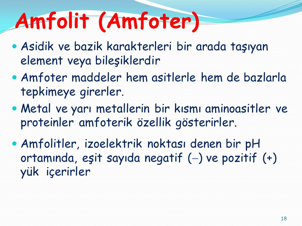 Amfolit (Amfoter) Asidik ve bazik karakterleri bir arada taşıyan element veya bileşiklerdir.