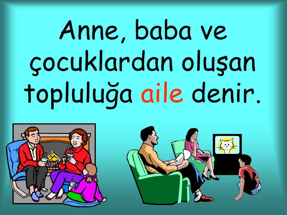 Anne, baba ve çocuklardan oluşan topluluğa aile denir.