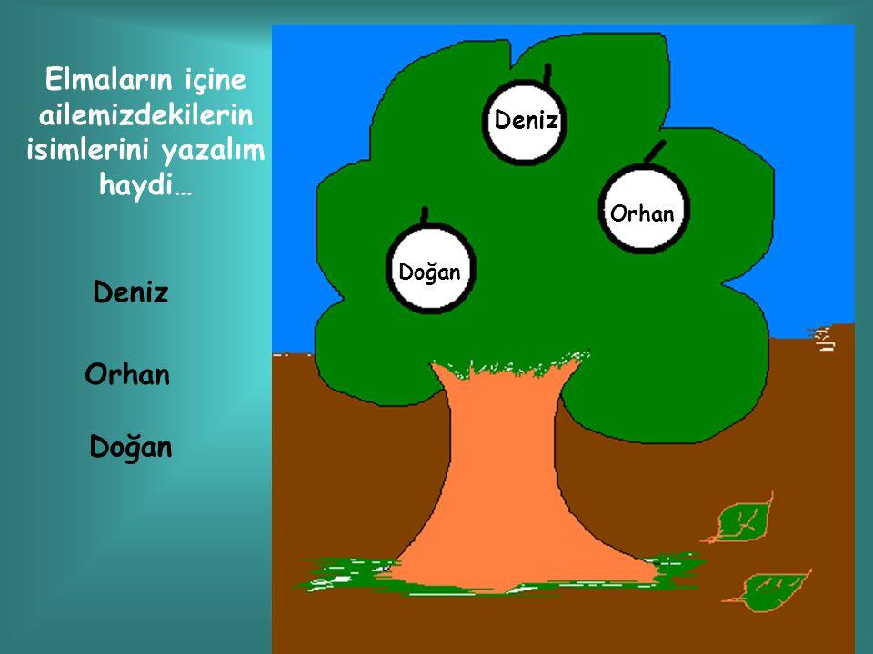 Elmaların içine ailemizdekilerin isimlerini yazalım haydi…