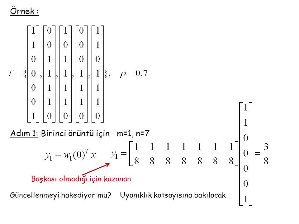 Adım 1: Birinci örüntü için m=1, n=7