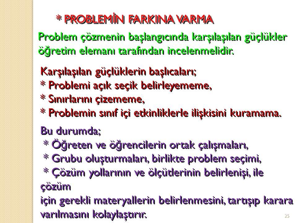 * PROBLEMİN FARKINA VARMA