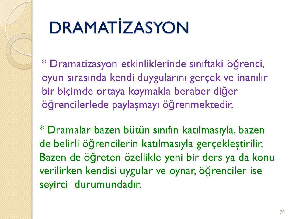 DRAMATİZASYON * Dramatizasyon etkinliklerinde sınıftaki öğrenci,