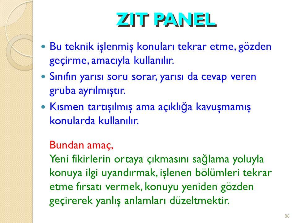 ZIT PANEL Bu teknik işlenmiş konuları tekrar etme, gözden geçirme, amacıyla kullanılır.