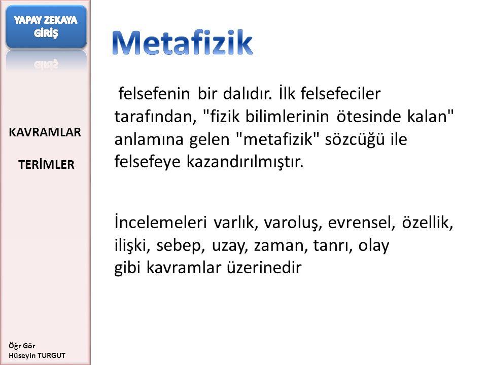 YAPAY ZEKAYA GİRİŞ Metafizik.