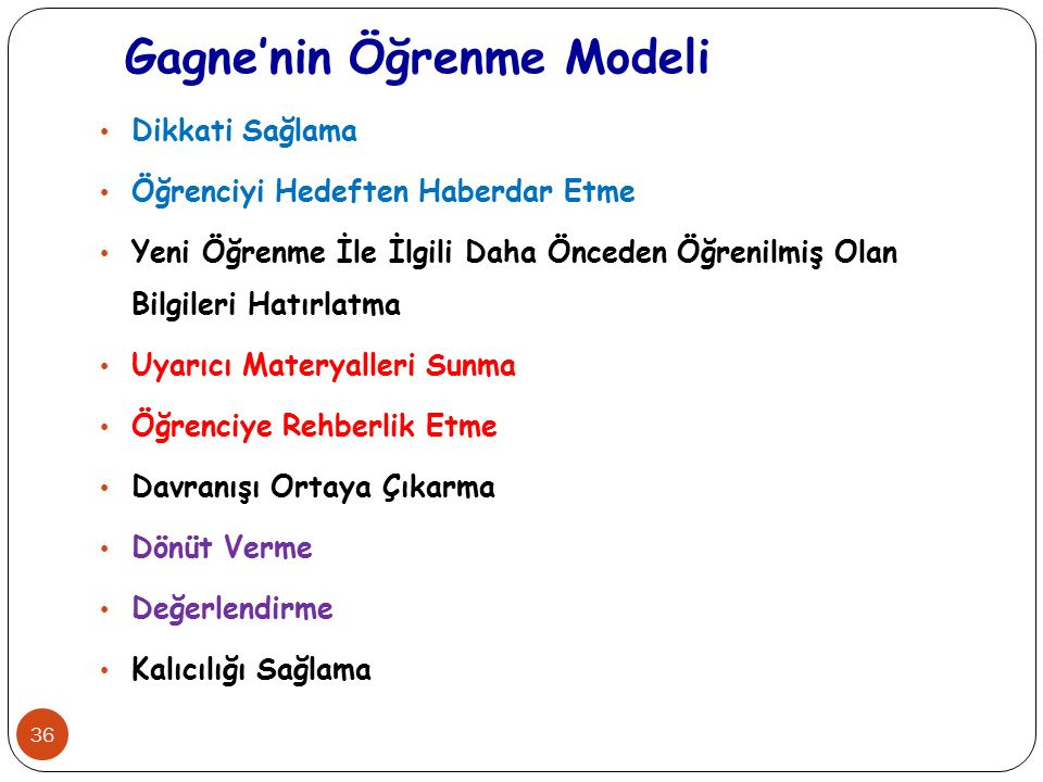 Gagne'nin Öğrenme Modeli