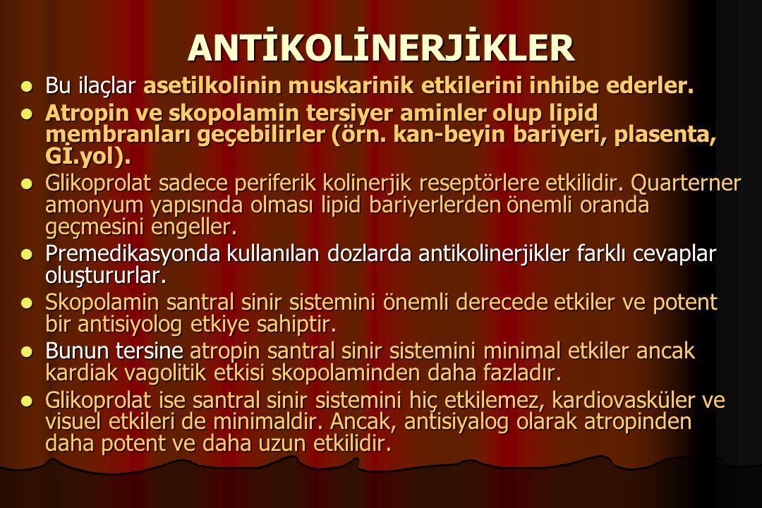 ANTİKOLİNERJİKLER Bu ilaçlar asetilkolinin muskarinik etkilerini inhibe ederler.