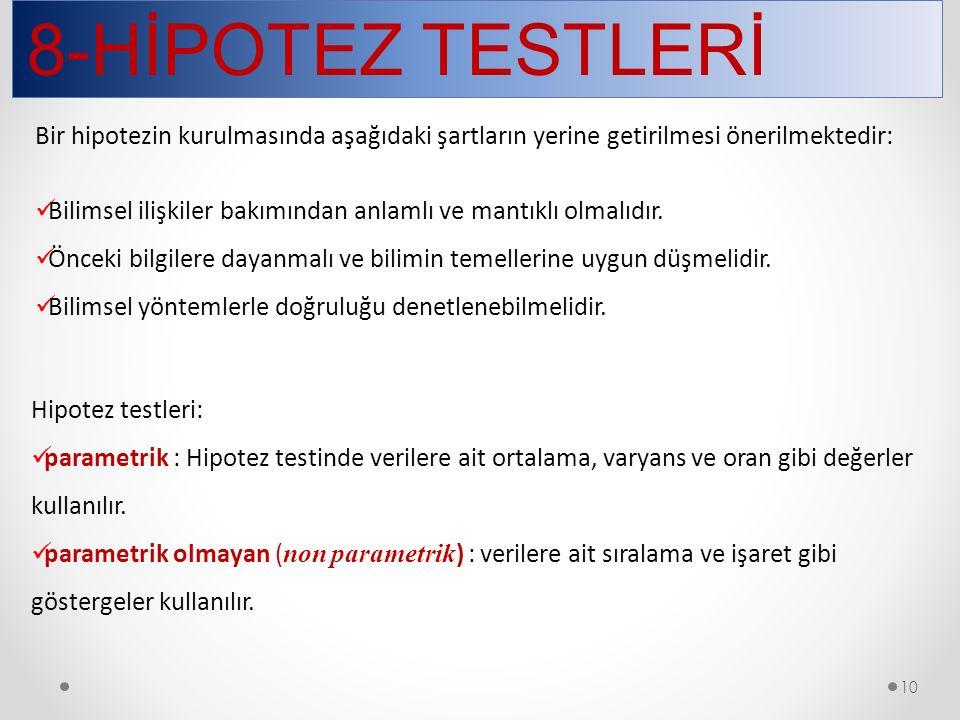 8-HİPOTEZ TESTLERİ Bir hipotezin kurulmasında aşağıdaki şartların yerine getirilmesi önerilmektedir: