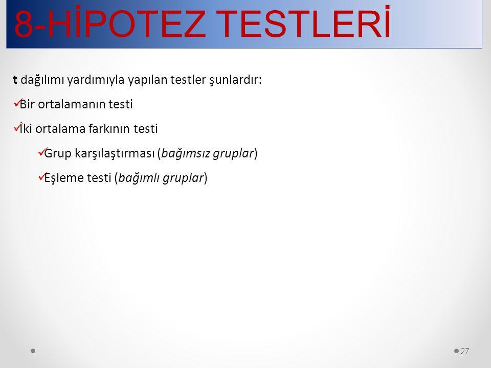 8-HİPOTEZ TESTLERİ t dağılımı yardımıyla yapılan testler şunlardır: