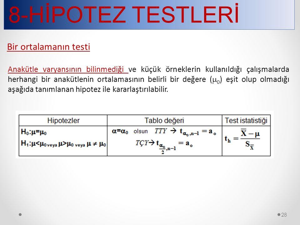 8-HİPOTEZ TESTLERİ Bir ortalamanın testi