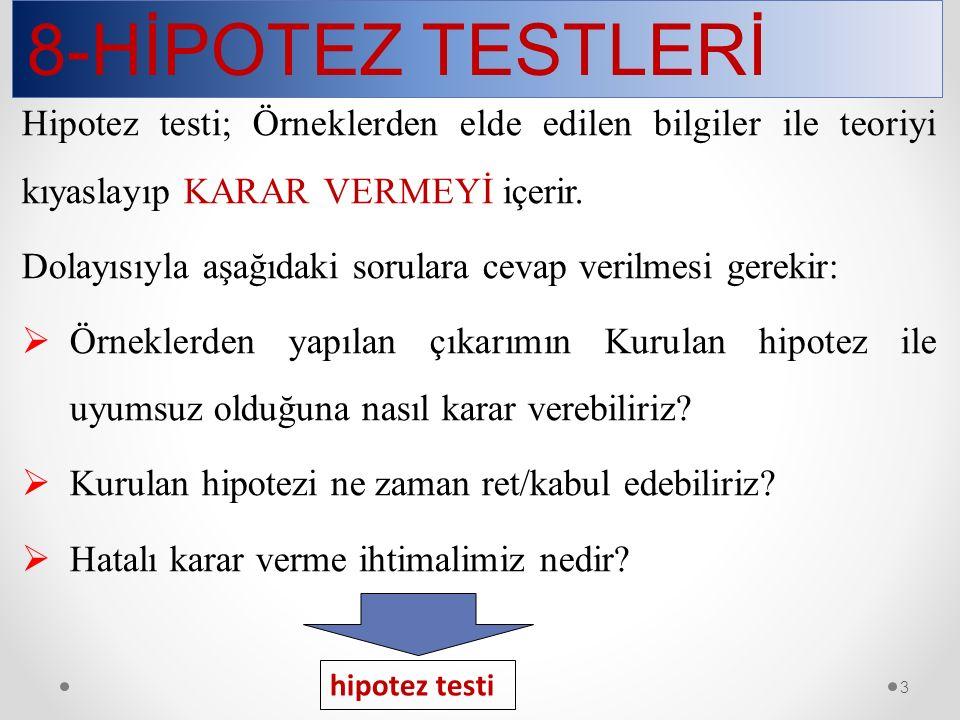8-HİPOTEZ TESTLERİ Hipotez testi; Örneklerden elde edilen bilgiler ile teoriyi kıyaslayıp KARAR VERMEYİ içerir.