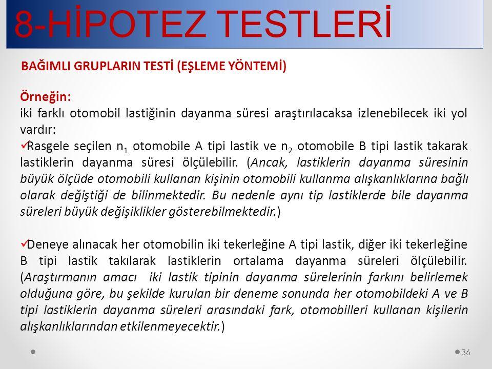 8-HİPOTEZ TESTLERİ BAĞIMLI GRUPLARIN TESTİ (EŞLEME YÖNTEMİ) Örneğin:
