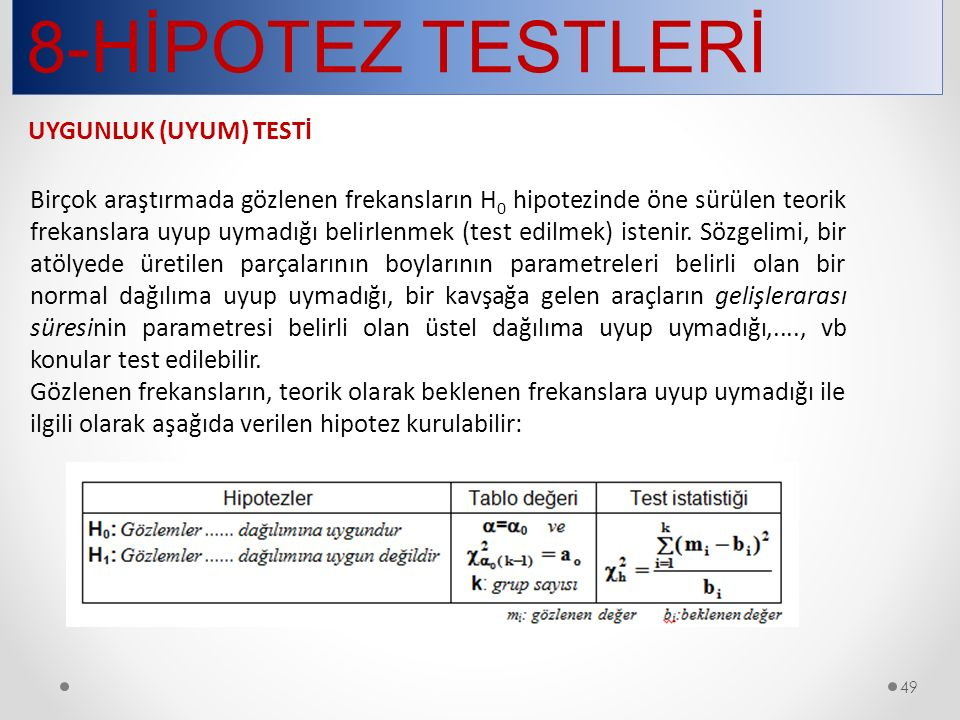 8-HİPOTEZ TESTLERİ UYGUNLUK (UYUM) TESTİ