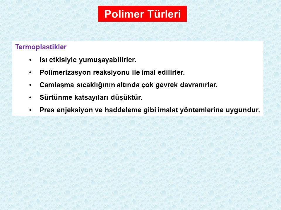 Polimer Türleri Termoplastikler Isı etkisiyle yumuşayabilirler.