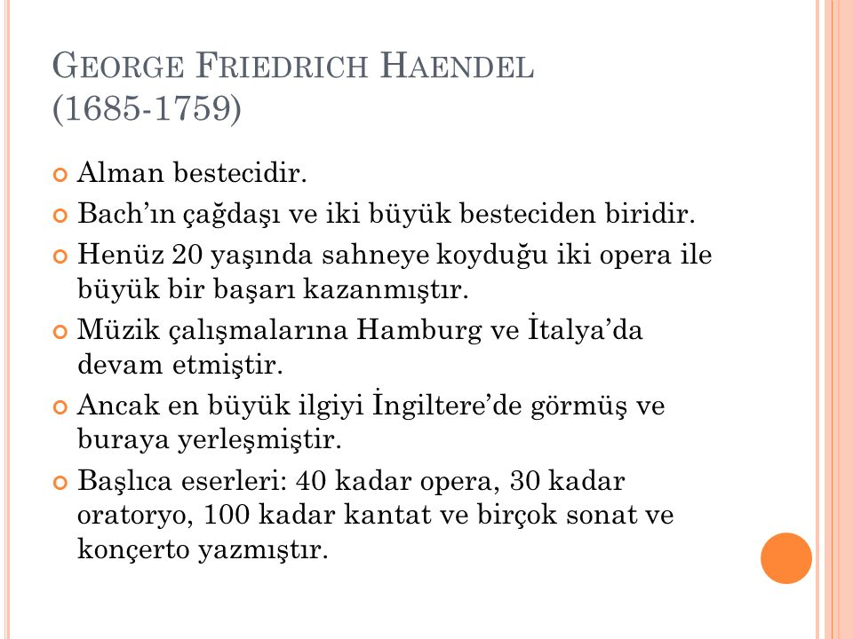 George Friedrich Haendel (1685-1759)