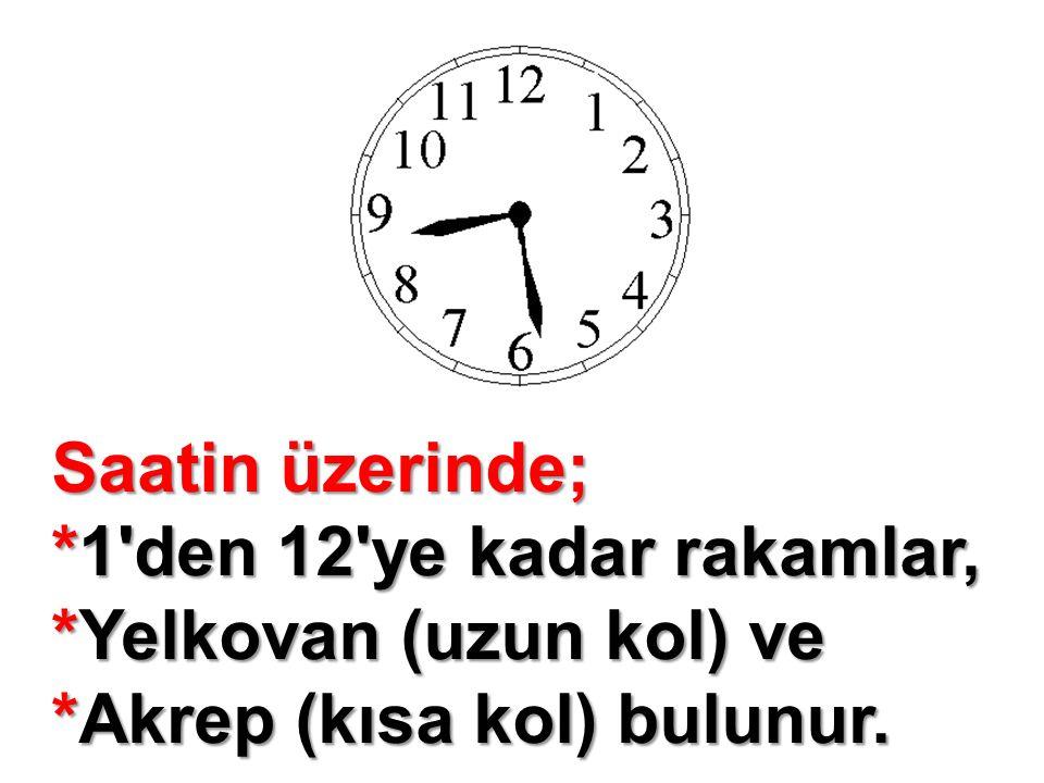 Saatin üzerinde; *1 den 12 ye kadar rakamlar, *Yelkovan (uzun kol) ve *Akrep (kısa kol) bulunur.