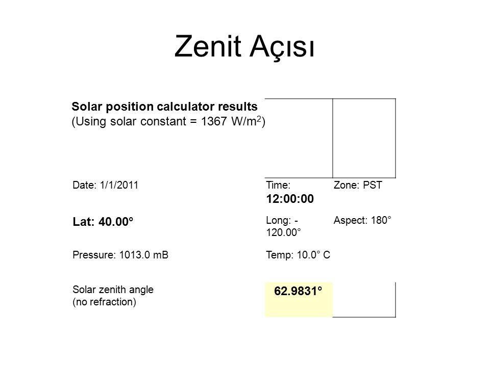 Zenit Açısı Solar position calculator results (Using solar constant = 1367 W/m2) Date: 1/1/2011. Time: 12:00:00.