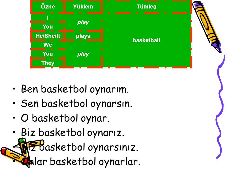 Sen basketbol oynarsın. O basketbol oynar. Biz basketbol oynarız.