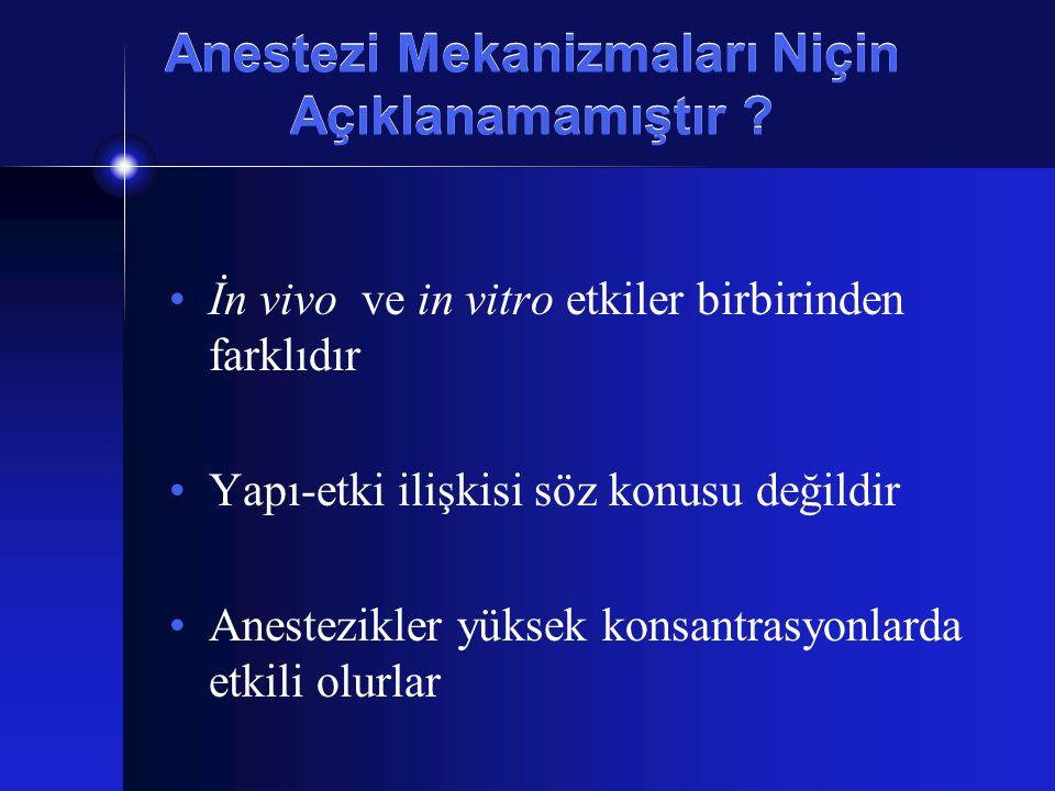 Anestezi Mekanizmaları Niçin Açıklanamamıştır