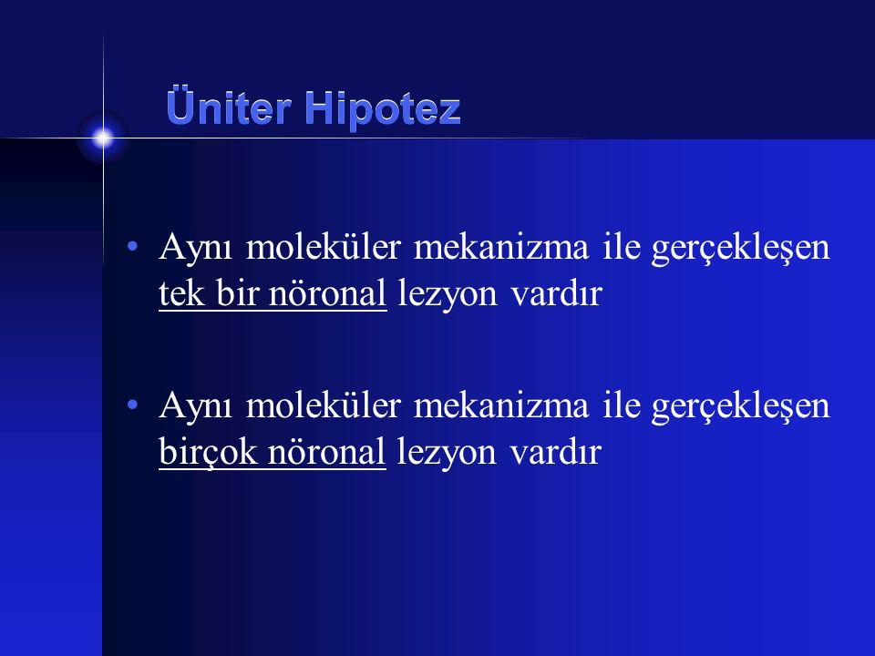 Üniter Hipotez Aynı moleküler mekanizma ile gerçekleşen tek bir nöronal lezyon vardır.