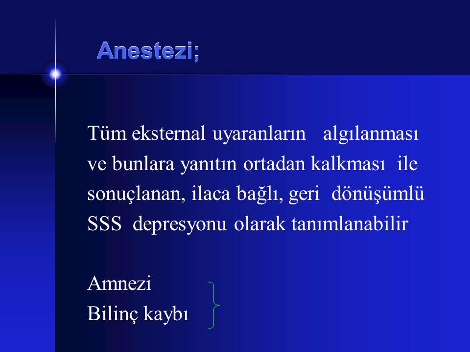 Anestezi; Tüm eksternal uyaranların algılanması