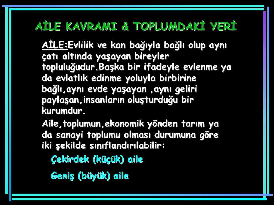 AİLE KAVRAMI & TOPLUMDAKİ YERİ