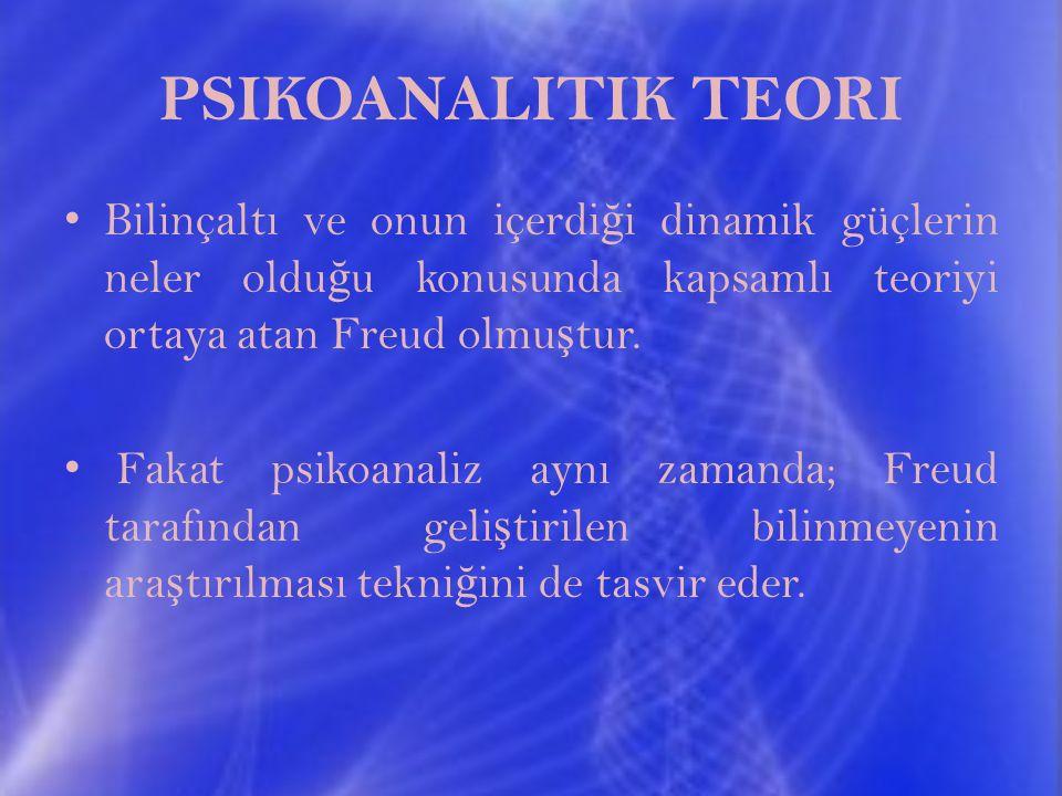 PSIKOANALITIK TEORI Bilinçaltı ve onun içerdiği dinamik güçlerin neler olduğu konusunda kapsamlı teoriyi ortaya atan Freud olmuştur.