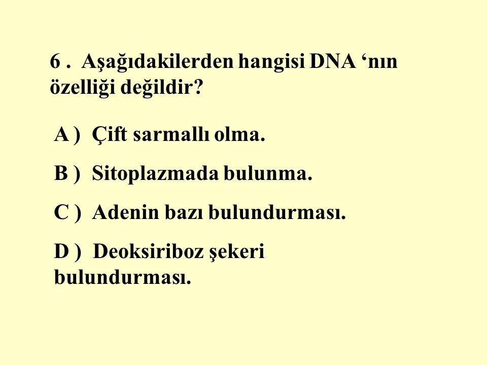 6 . Aşağıdakilerden hangisi DNA 'nın özelliği değildir