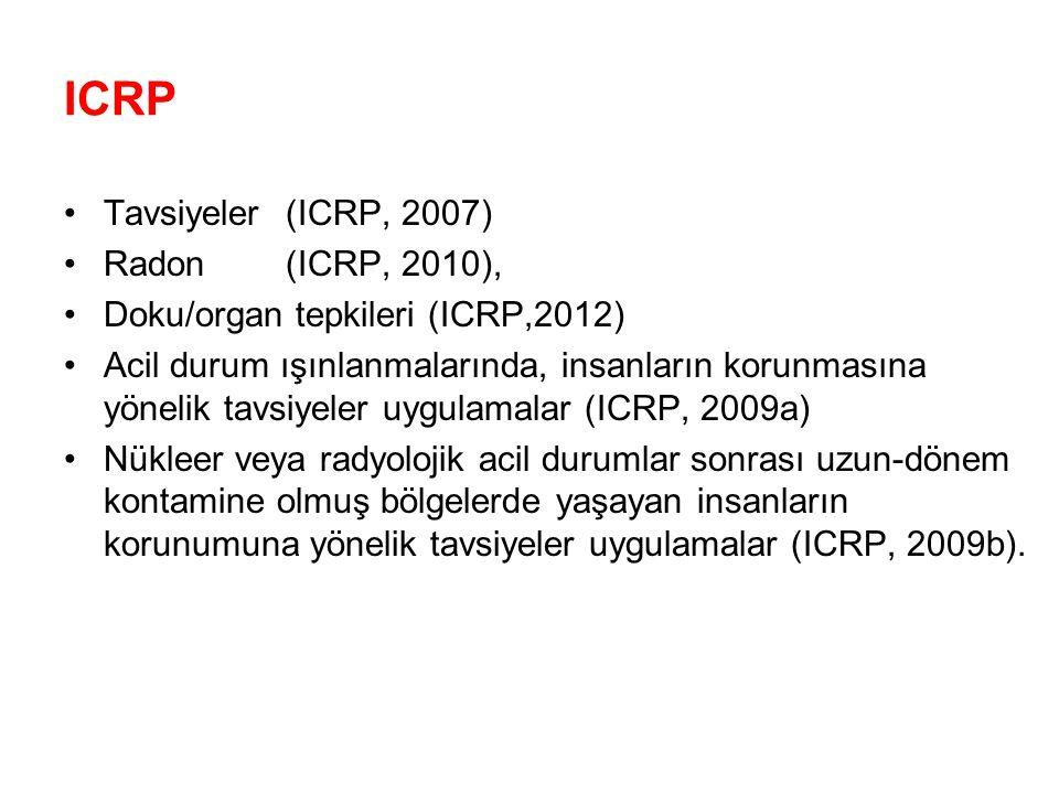 ICRP Tavsiyeler (ICRP, 2007) Radon (ICRP, 2010),