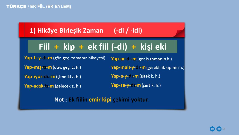 Fiil + kip + ek fiil (-di) + kişi eki