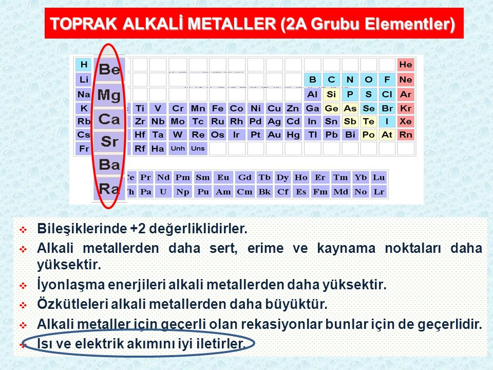 TOPRAK ALKALİ METALLER (2A Grubu Elementler)