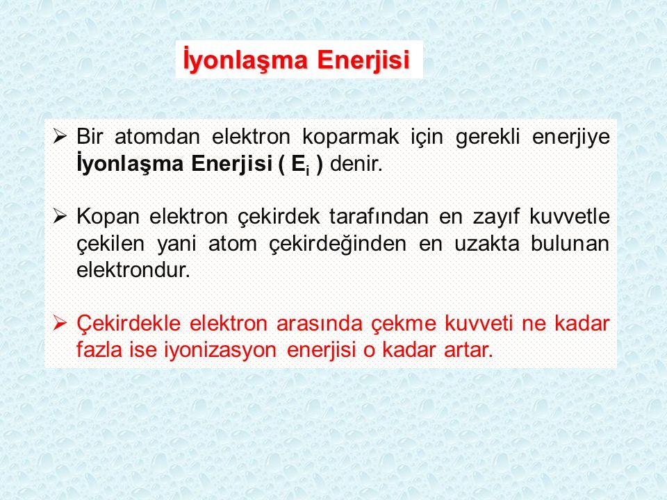 İyonlaşma Enerjisi Bir atomdan elektron koparmak için gerekli enerjiye İyonlaşma Enerjisi ( Ei ) denir.