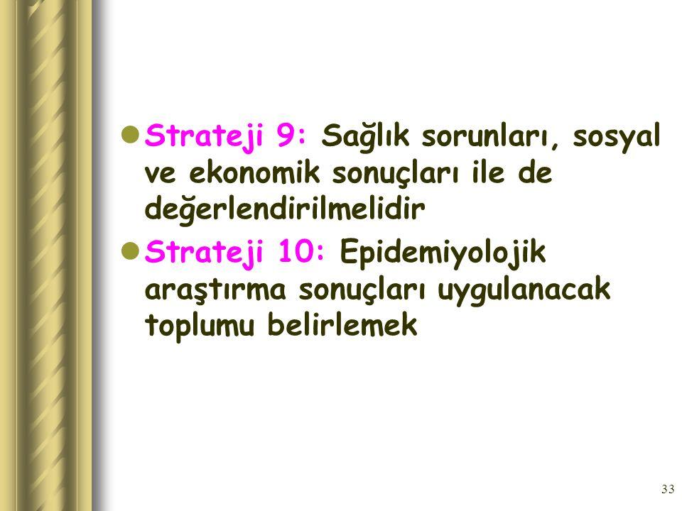 Strateji 9: Sağlık sorunları, sosyal ve ekonomik sonuçları ile de değerlendirilmelidir