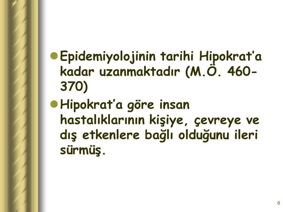 Epidemiyolojinin tarihi Hipokrat'a kadar uzanmaktadır (M.Ö. 460-370)