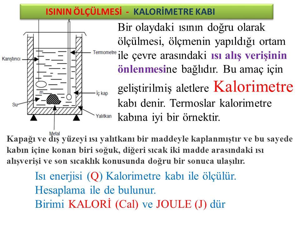 Isı enerjisi (Q) Kalorimetre kabı ile ölçülür.