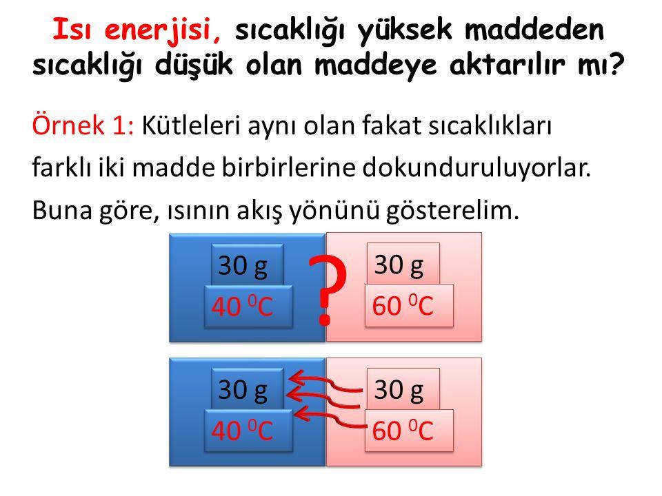 Isı enerjisi, sıcaklığı yüksek maddeden sıcaklığı düşük olan maddeye aktarılır mı