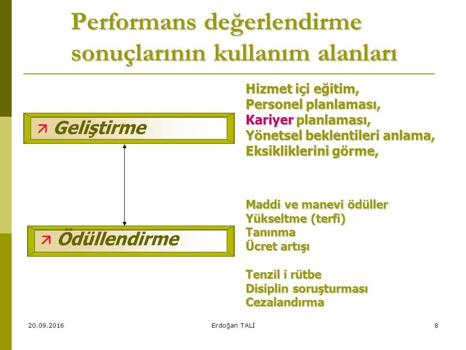 Performans değerlendirme sonuçlarının kullanım alanları