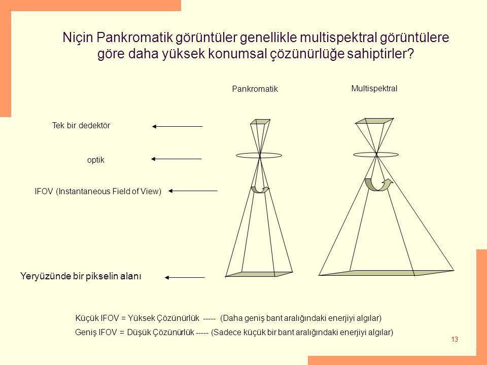 Niçin Pankromatik görüntüler genellikle multispektral görüntülere göre daha yüksek konumsal çözünürlüğe sahiptirler