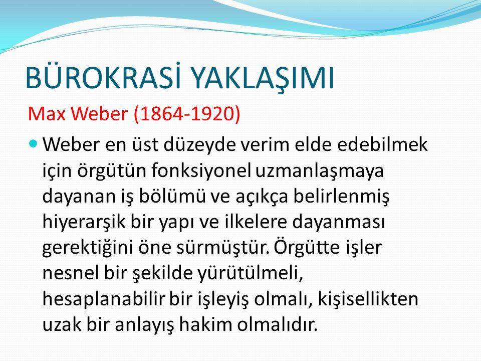 BÜROKRASİ YAKLAŞIMI Max Weber (1864-1920)