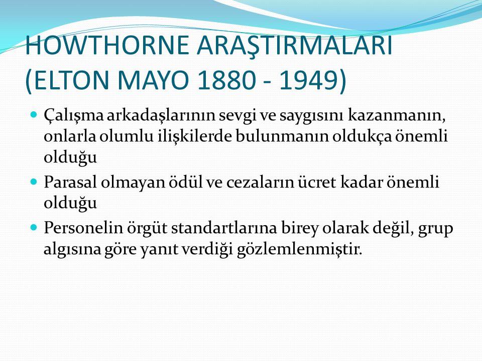 HOWTHORNE ARAŞTIRMALARI (ELTON MAYO 1880 - 1949)