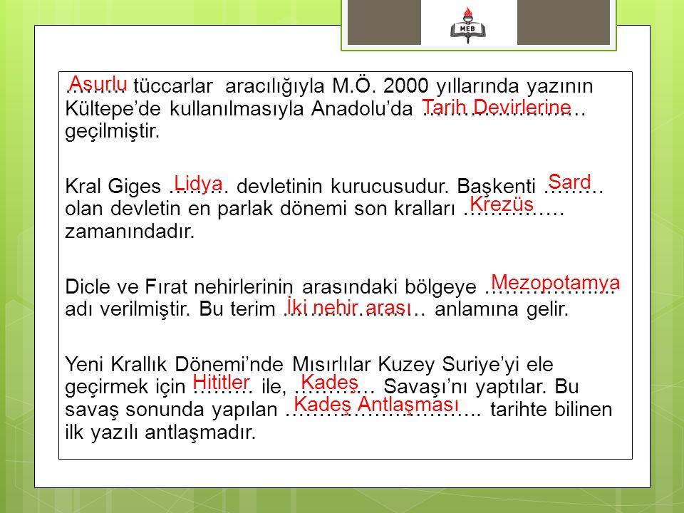 Asurlu ……… tüccarlar aracılığıyla M.Ö. 2000 yıllarında yazının Kültepe'de kullanılmasıyla Anadolu'da …………………… geçilmiştir.