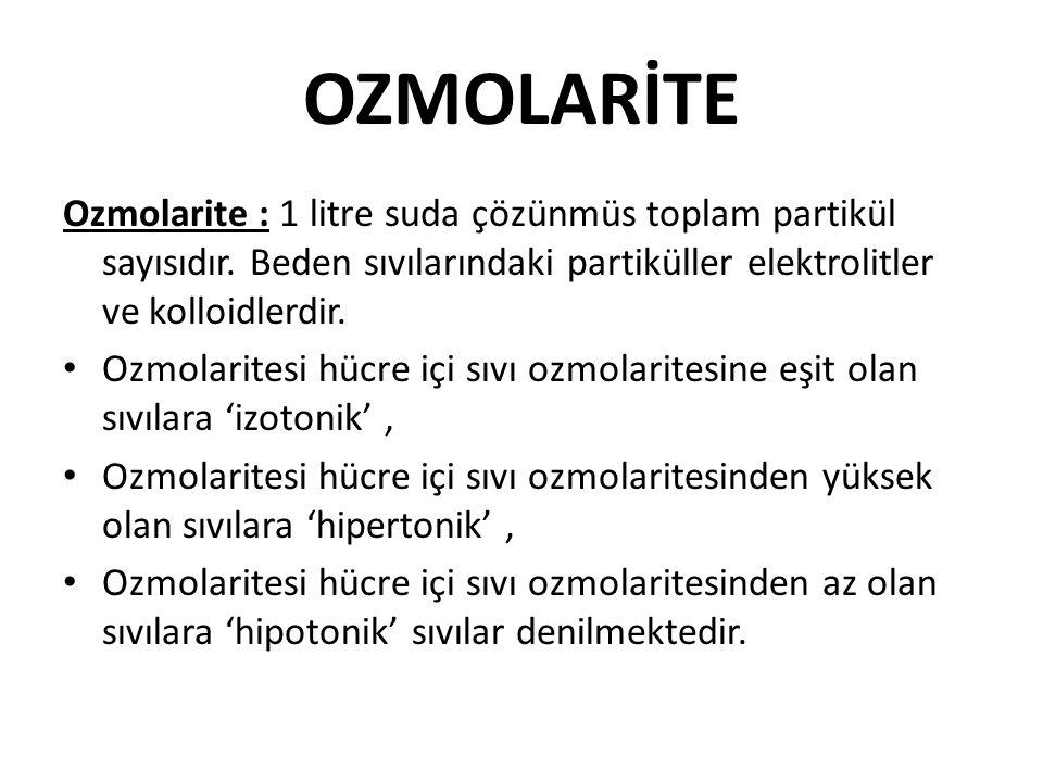 OZMOLARİTE Ozmolarite : 1 litre suda çözünmüs toplam partikül sayısıdır. Beden sıvılarındaki partiküller elektrolitler ve kolloidlerdir.