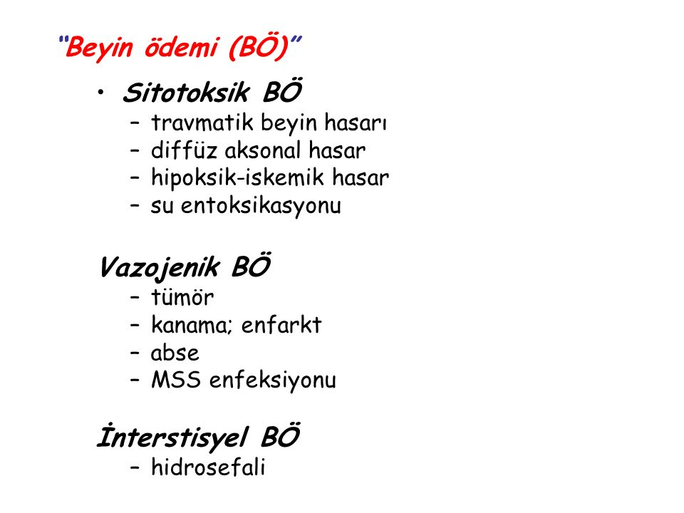 Beyin ödemi (BÖ) Sitotoksik BÖ Vazojenik BÖ İnterstisyel BÖ