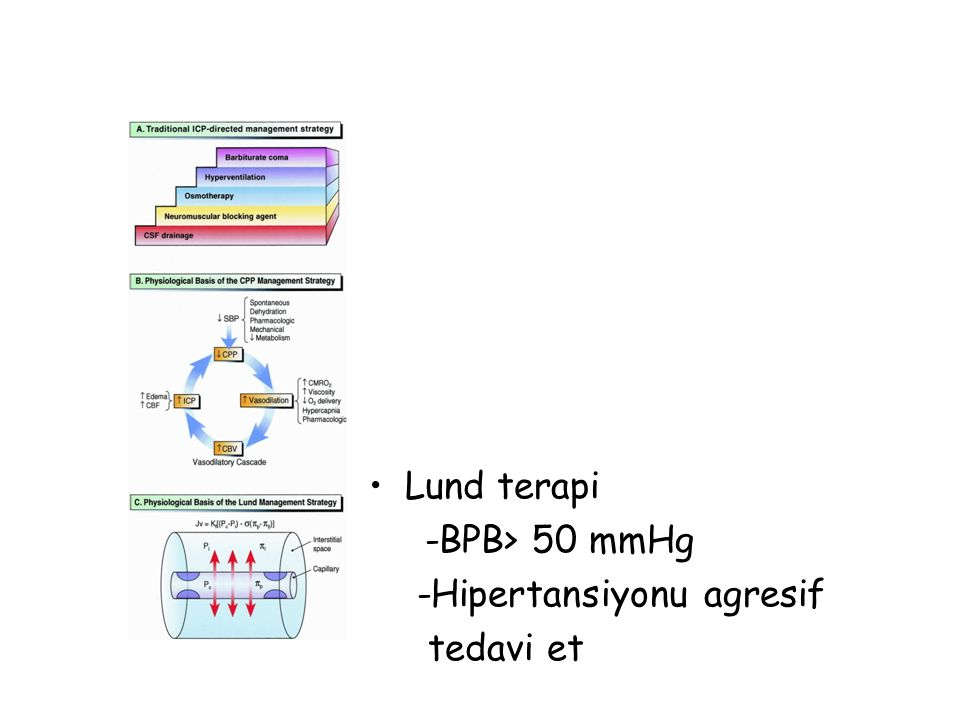 Lund terapi -BPB> 50 mmHg -Hipertansiyonu agresif tedavi et