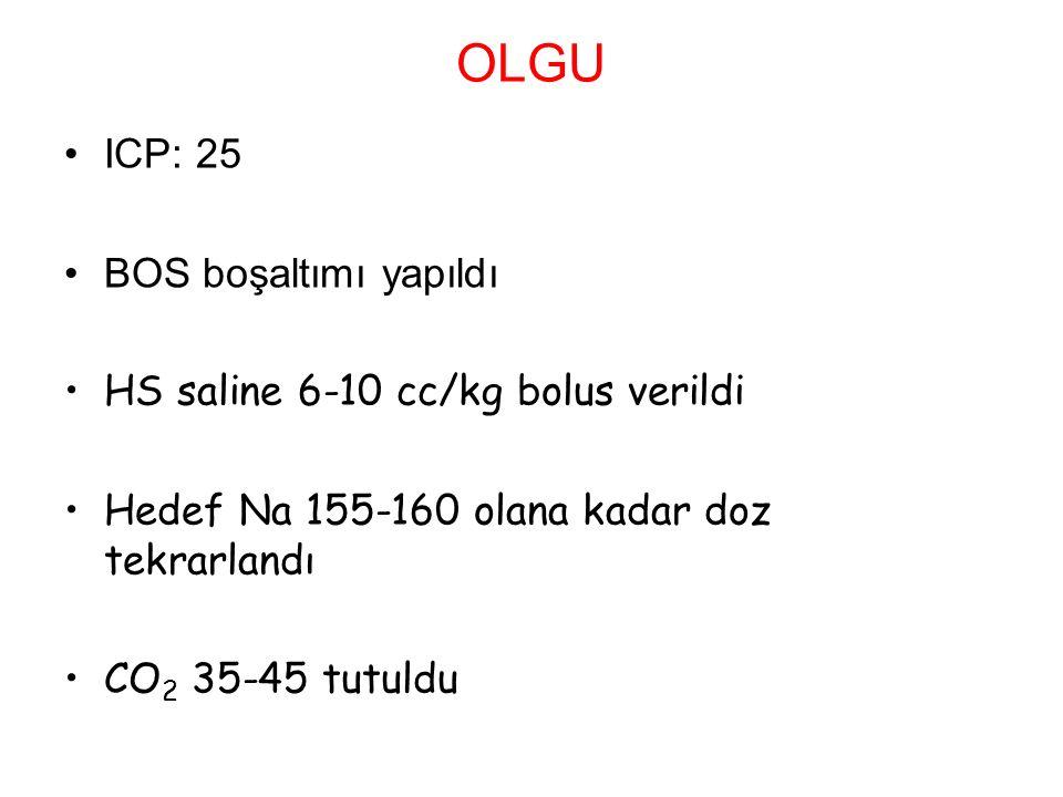 OLGU ICP: 25 BOS boşaltımı yapıldı HS saline 6-10 cc/kg bolus verildi